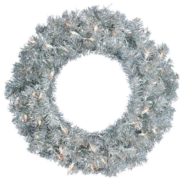 Wreath With Mini Lights, Tree: Silver, Lights: Clear, 24.