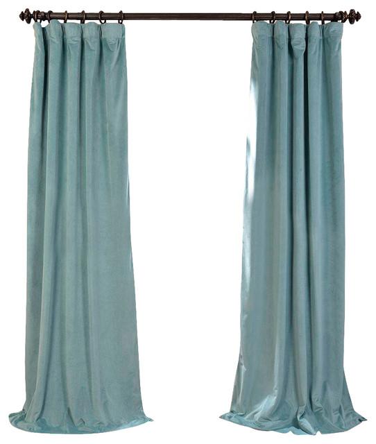 signature aqua mist blackout velvet curtain single panel curtains - Velvet Curtain
