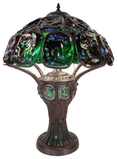 Tiffany Style Turtleback Table Lamp With Lighted Base Table Lamps