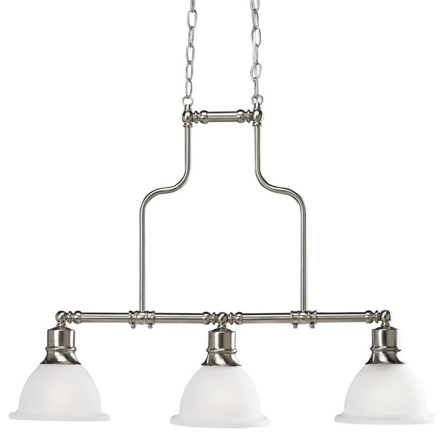 Progress lighting madison 3 light linear chandelier brushed nickel transitional kitchen island