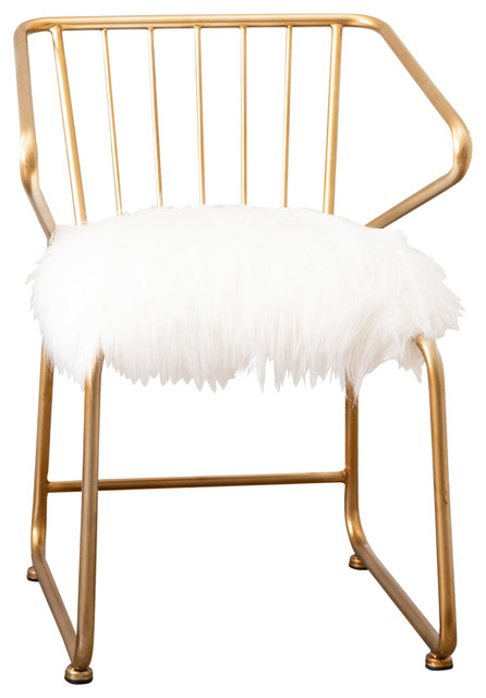 Tremendous Abbyson Living Ayala Gold And Faux Fur Dining Chair Ibusinesslaw Wood Chair Design Ideas Ibusinesslaworg
