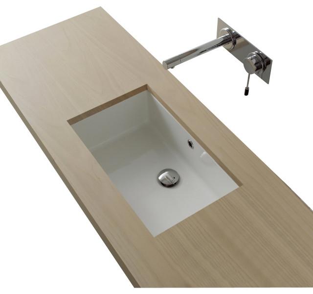 Rectangular White Ceramic Undermount Sink No Hole