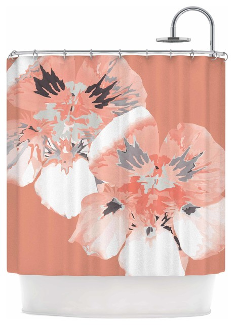 Love Midge Graphic Flower Nasturtium Coral Shower Curtain 69x70 Contemporary