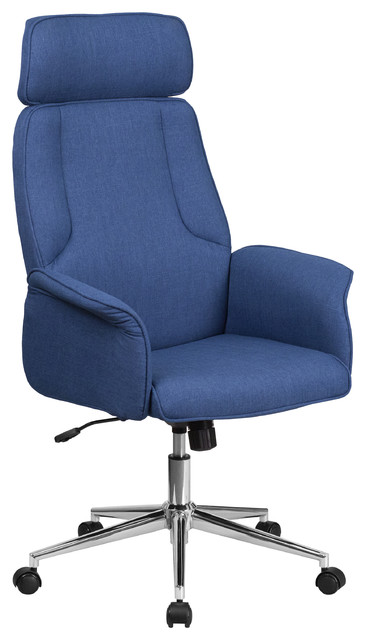 Bezos High-Back Executive Office Chair With Chrome Base, Blue.