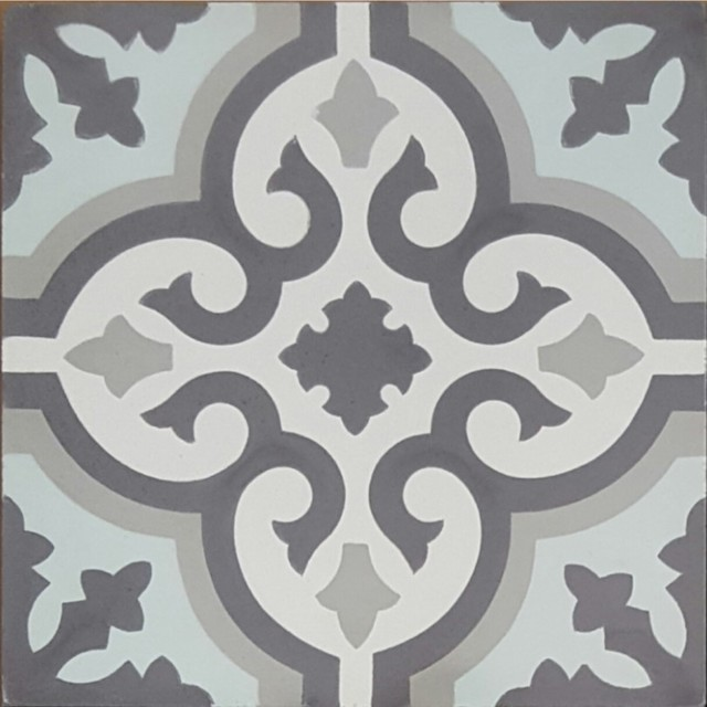 Kaleidoscope Cement Tile, Traditional, Blue/gray/white.