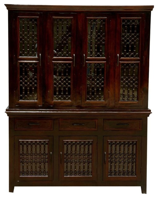 Harold Traditional Solid Wood Iron Grill Door Large Kitchen Hutch