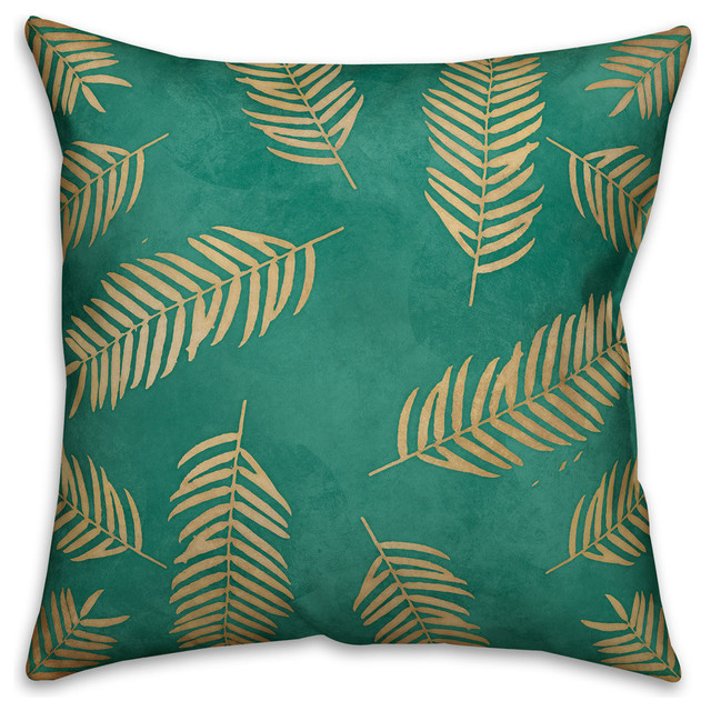 Gold Palm Leaves Outdoor Throw Pillow Tropical Outdoor Cushions