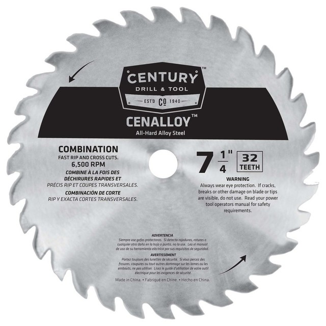 Combination Cenalloy Circular Saw Blade, 7.25x32t.