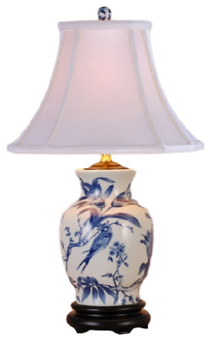 Branches Porcelain Table Lamp, Blue And White.