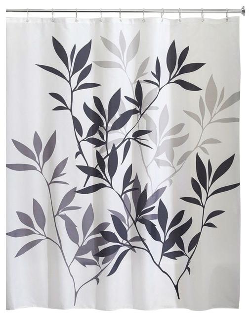 Shop Houzz FastFurnishings Tree Branch Leaves Black White Gray Fabric Showe