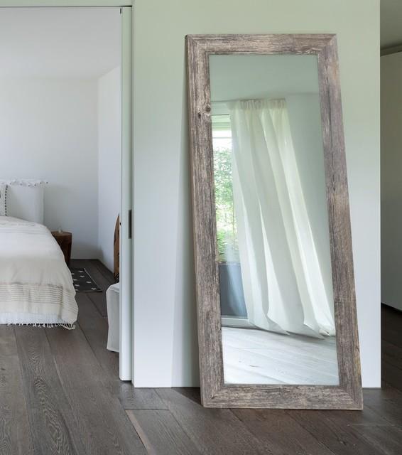 Grange Gray Framed Wall Mirror, Non Beveled Glass, 24x60.