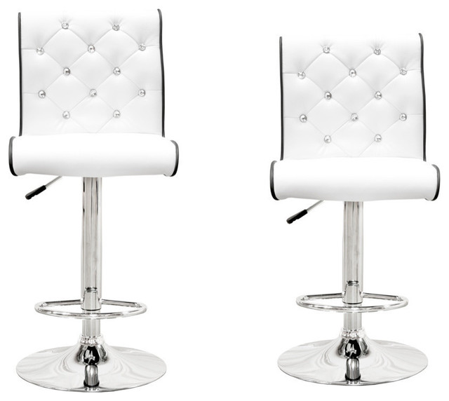 "Modern Swivel Bar Stool With Crystals and ""Tufted"" Look, Set of 2, White"