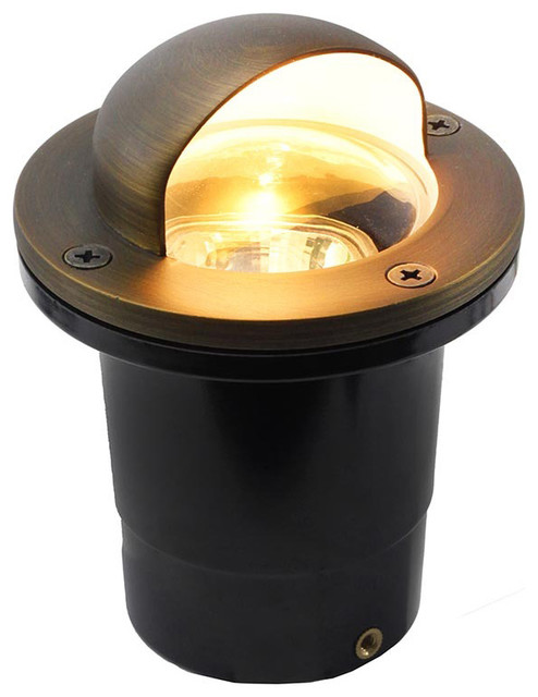12v Composite Ground Well Light With Eyebrow Cover, Bronze.