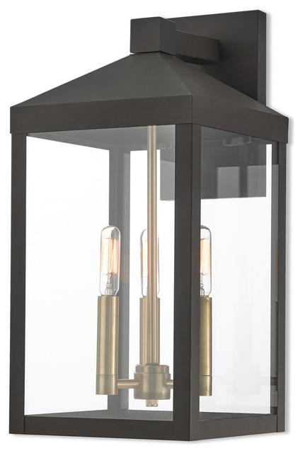LIVEX LIGHTING 20584-07 Nyack 3-Light Outdoor Wall Lantern