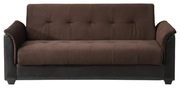 Seattle Tufted Storage Futon Sofa Bed With Elephant Fabric Dark Brown