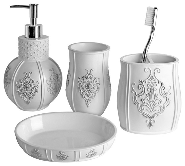 Vintage white 4 piece bath accessory set contemporary for White bath accessories sets