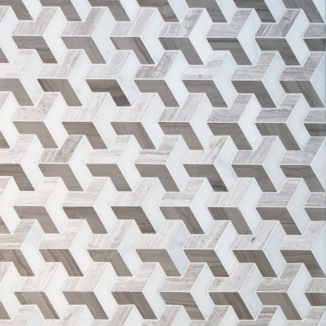 Mixed Marble Cut In A Effect Mosaic Tile 5 Sheets Contemporary