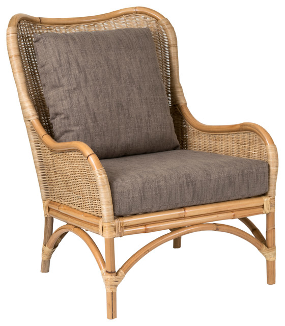 East At Main's Lyndon Brown Square Rattan Accent Chair