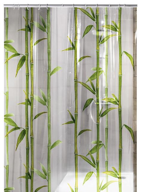 Green PEVA Shower Curtain, Bamboo Asian Shower Curtains
