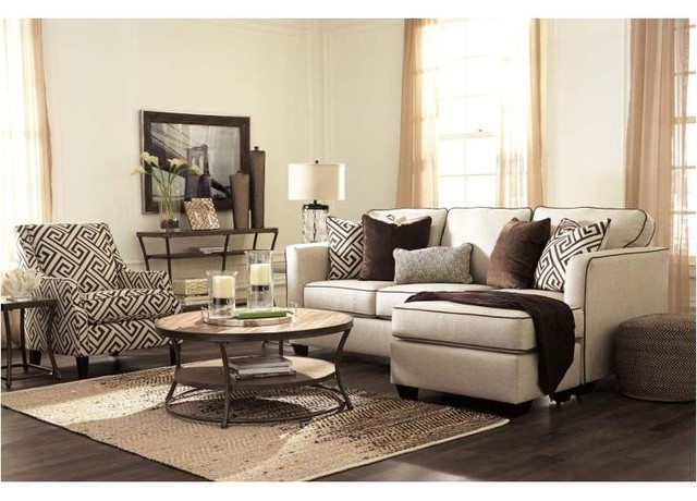 Ashley Furniture Carlinworth Sofa Chaise Linen Transitional Sectional Sofas By Gwg Outlet