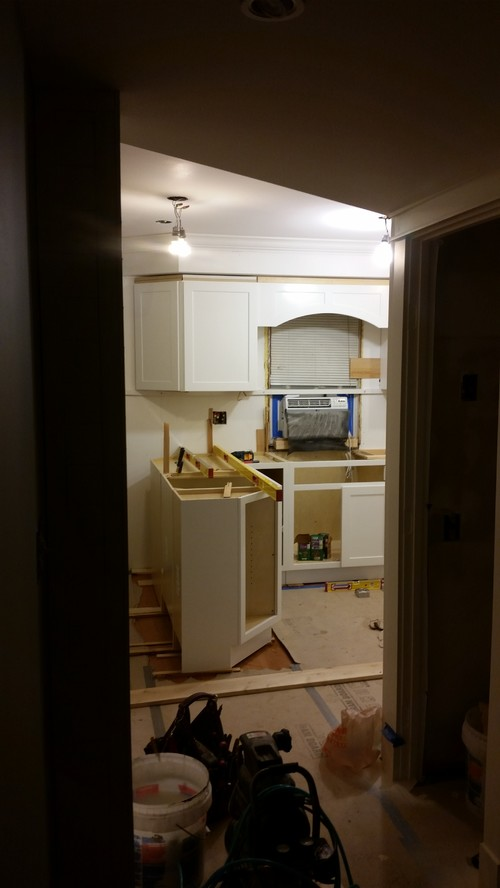 White cabinets with off white trim