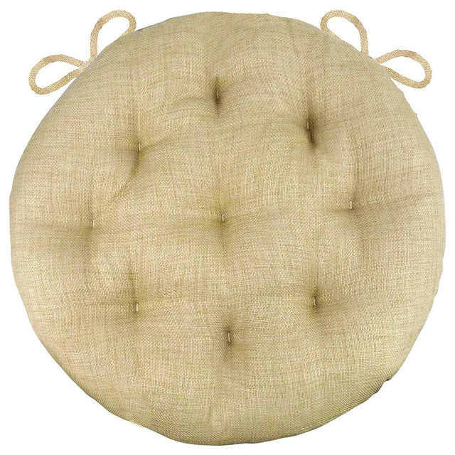Rave Sand Bistro Chair Pad 16 Round Cushion With Ties Indoor