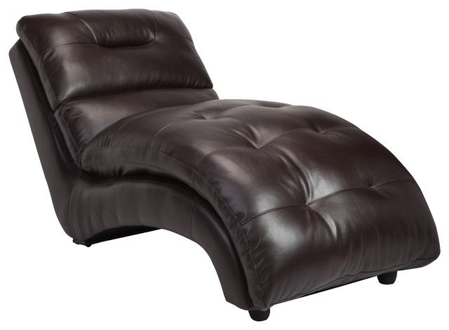 Charlotte faux leather lounge chaise contemporary for Black faux leather chaise lounge