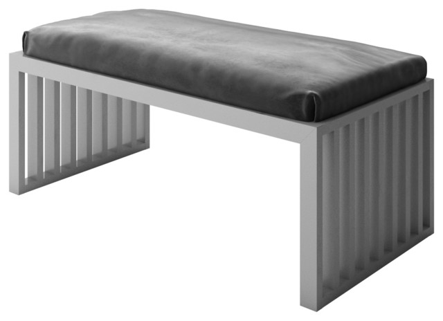 Designer modern home adrian 48 gray velvet seat frame bench accent and storage benches houzz Velvet storage bench