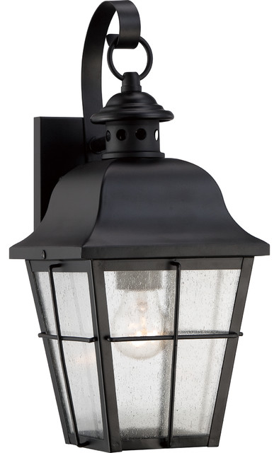 Askew Wall Lantern With Mystic Black Finish Traditional