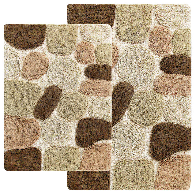 Ciottolo 2 Piece Bathroom Rug Set Khaki Brown