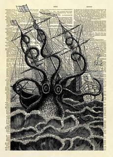 Altered Artichoke - Giant Squid Attacking Ship Dictionary Art Print & Reviews | Houzz