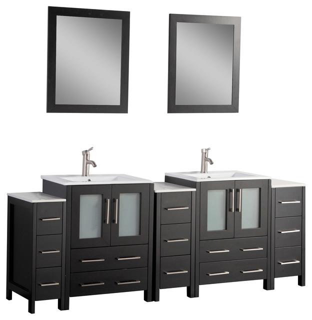 """Victoria Bathroom Vanity Set With Ceramic Top, Espresso Brown, 84""""."""