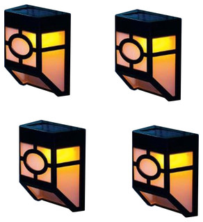 Solar-Powered Outdoor Fence Lights, Set of 4, Yellow