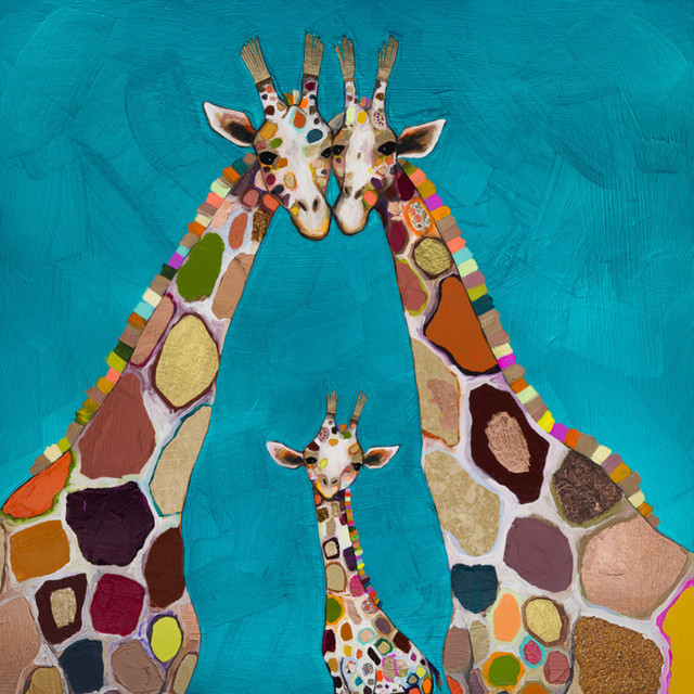 Giraffe Family In Turquoise Stretched Canvas Art By Eli Halpin Contemporary Prints And Posters By Greenbox Art Culture