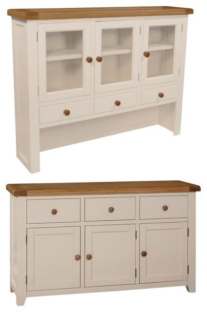 Julia 3-Drawer Storage Unit, Sideboard Plus Hutch