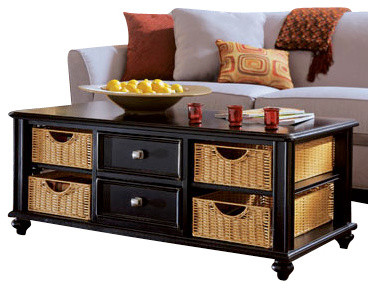 Hammary Camden Dark 2 Piece Coffee Table Set With Baskets In Black Traditional