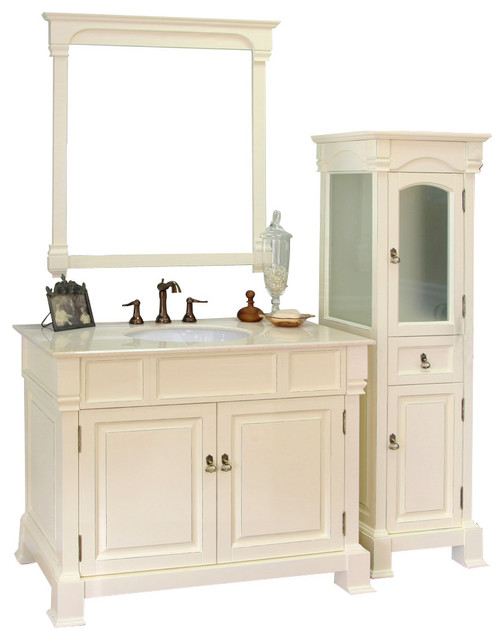 42 Inch Single Sink Vanity Wood Cream White traditional bathroom vanities. Bellaterra Home 42 Inch Single Sink Vanity Wood   Bathroom