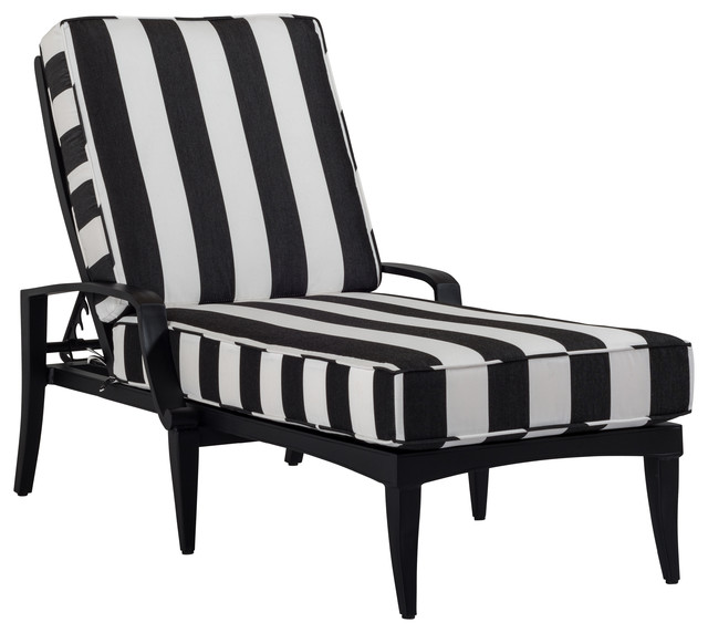 Bellmore Deep Cushion Chaise Lounge, Black And White Striped Contemporary  Outdoor Chaise