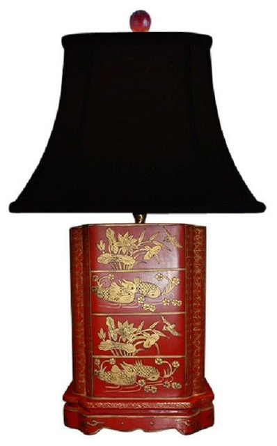 Chinese Red Lacquer Wooden Box Bird Motif Table Lamp Shade And Finial 24 Asian Lamps By William Sung