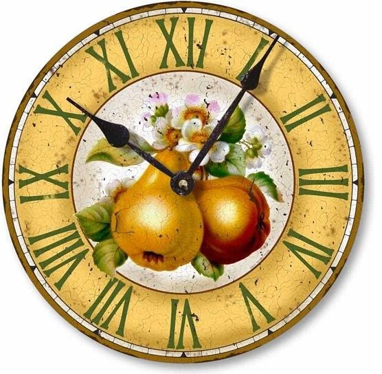 Vintage Style Botanical Fruit Pears Clock Victorian