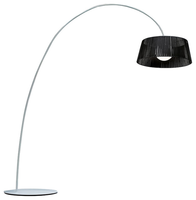 Ribbon Arch Floor Lamp, Black Shade.