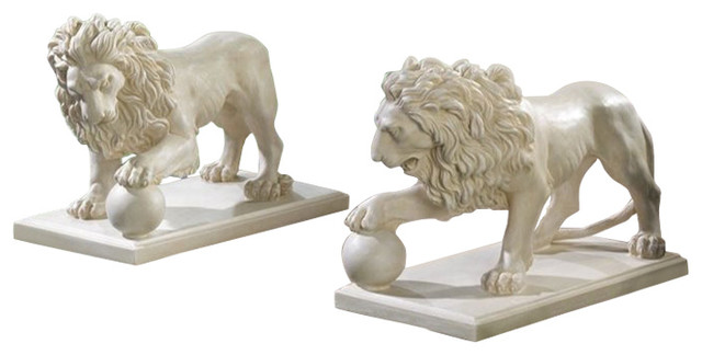 Regal Lion Statue Duo Traditional Garden Statues And Yard Art By Koolekoo
