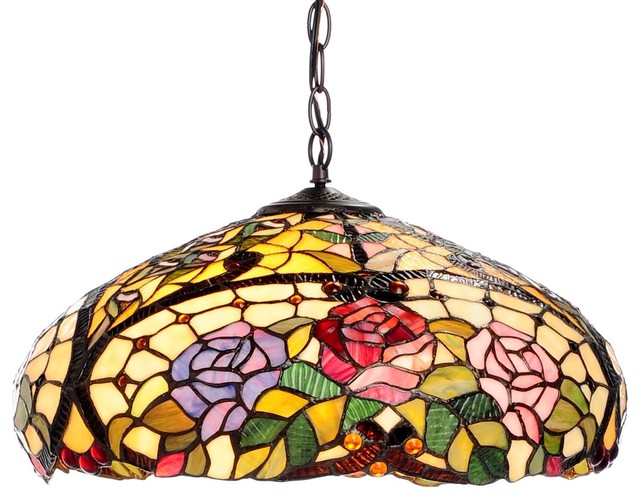 Tiffany-style Rose Floral Hanging Fixture craftsman-pendant-lighting  sc 1 st  Houzz : floral pendant light - azcodes.com