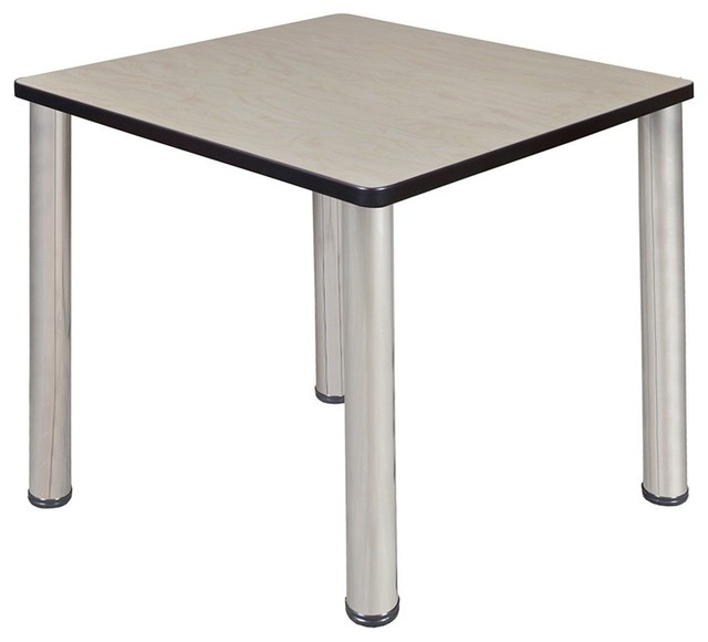 "Kee 30"" Square Breakroom Table, Maple/Chrome"
