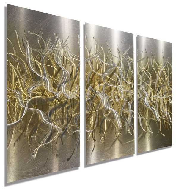 Hand Etched Silver And Gold Modern Metal Wall Art Home Decor Golden