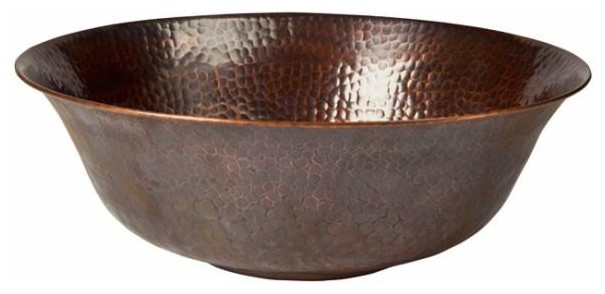 Lovely Copper Factory, Solid Hammered Copper Round Vessel Sink, Antique Copper  Contemporary Bathroom
