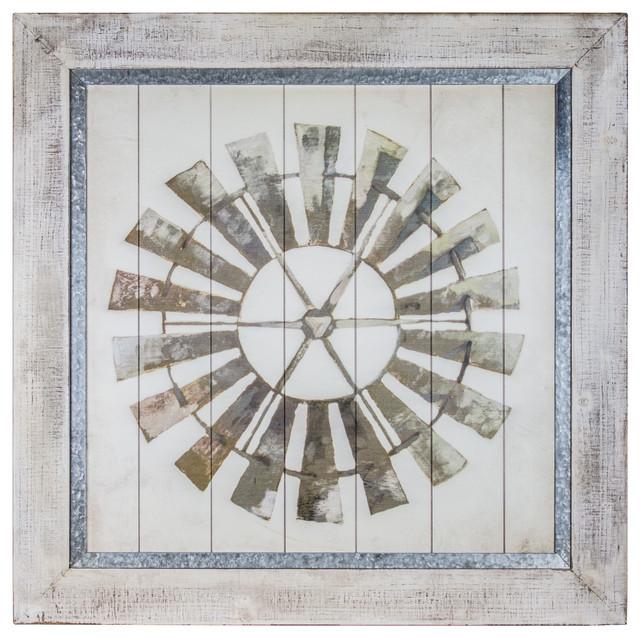 Farmhouse Windmill Print On Planked Wood.