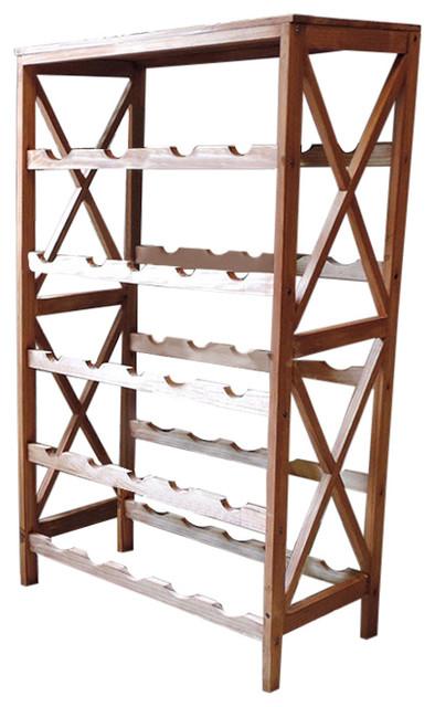 Lavish Home Classic Rustic Wood 25 Bottle Wine Rack