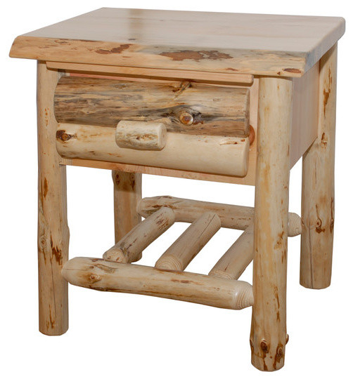 Pine Log Side Table With 1 Drawer And 1 Shelf Rustic Side Tables And End Tables By