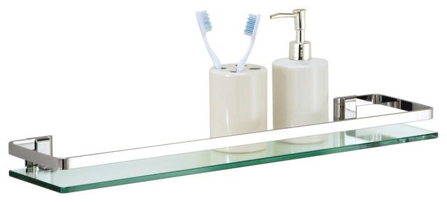 Glass Shelf With Chrome Finish And Rail Contemporary